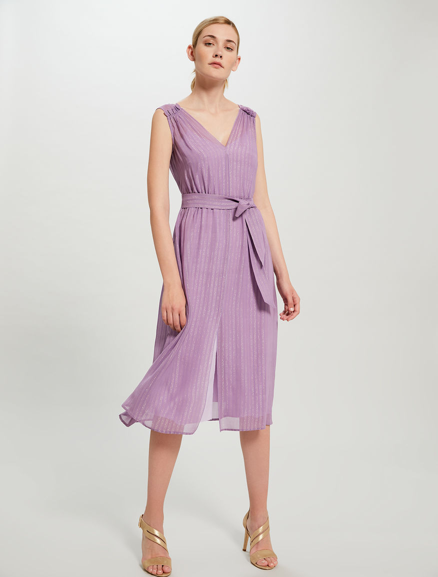 78ba503590d0 Lamé chalk-stripe dress with belt