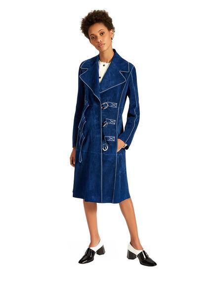 Buckle suede trench coat