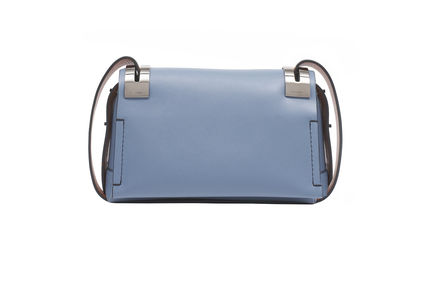 Blue and terracotta leather shoulder SM 207 bag