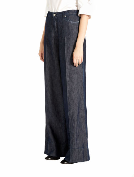 Dark indigo denim palazzo jeans