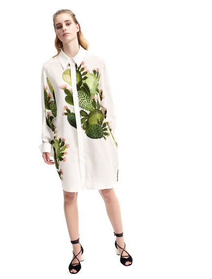 Cactus Design Silk Shirt Dress