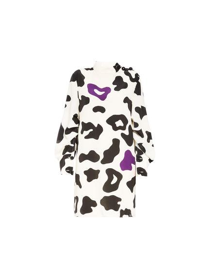 Cow Print Silk Mini Dress