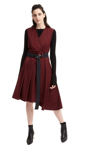 Asymmetric-Skirt Wrap Dress