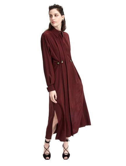Button-Pleat Silk Shirt Dress