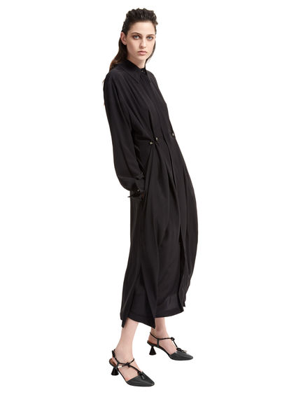 Button-Pleat Silk Shirt Dress Sportmax