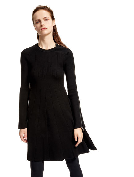 Wool Zipped Fit & Flare Dress