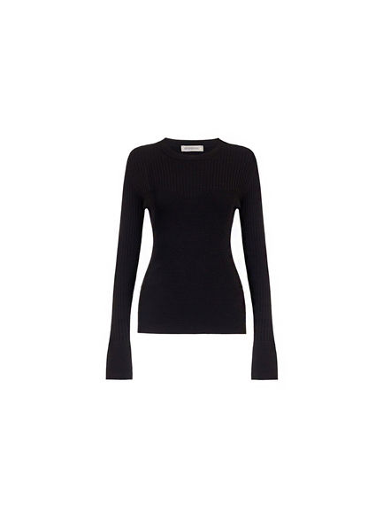 Contrast Knit Viscose Sweater