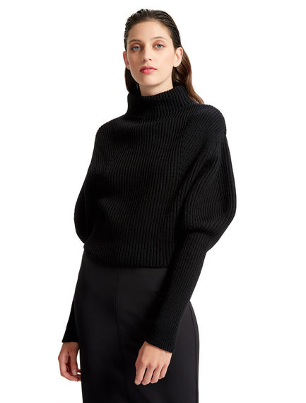 Sculptural Ribbed Wool Sweater