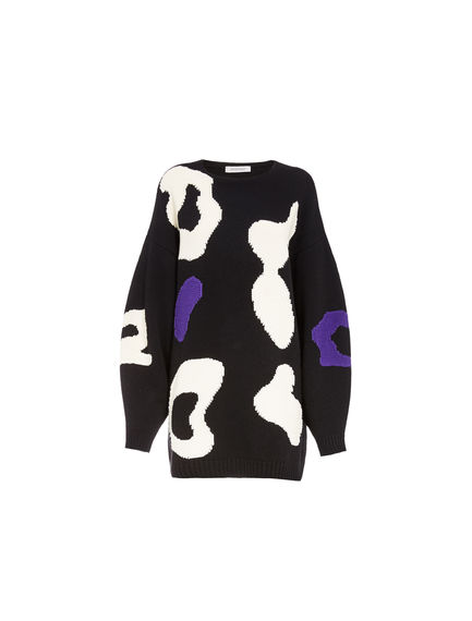 Cow Design Maxi Sweater