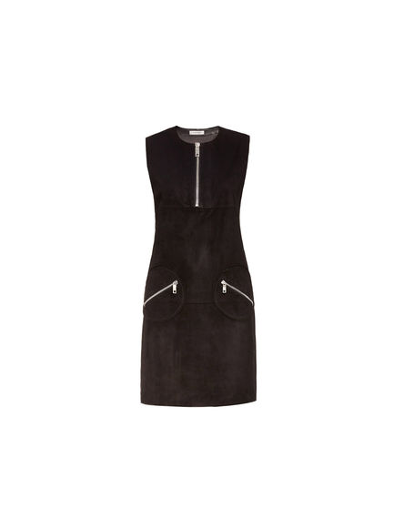 Sleeveless Suede Zip Dress