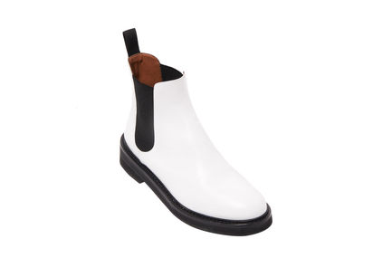 White Calfskin Chelsea Boots