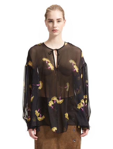 Carnation Print Silk Blouse
