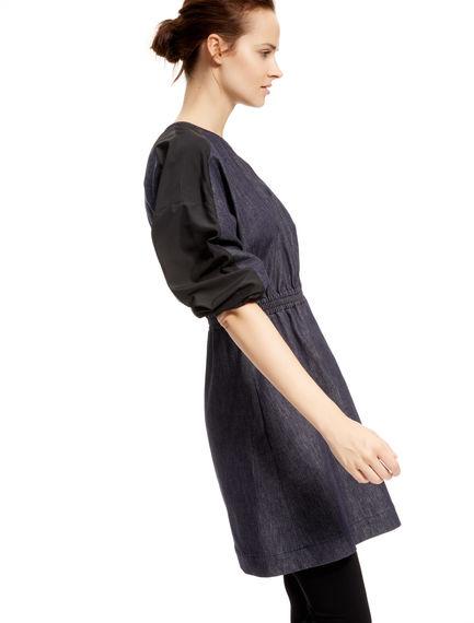 Contrast Sleeve Denim Tunic Dress
