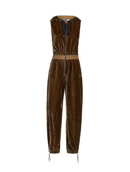 Crushed Velour Hooded Jumpsuit