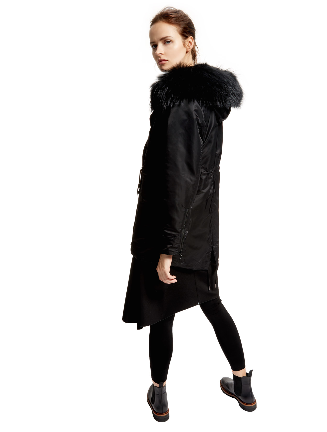 Black Fur Lined Parka, black - Sportmax