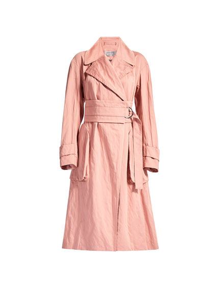 Pink Cotton Satin Trench Coat