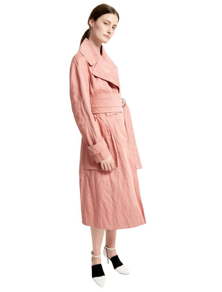 Pink Cotton Satin Trench Coat Sportmax