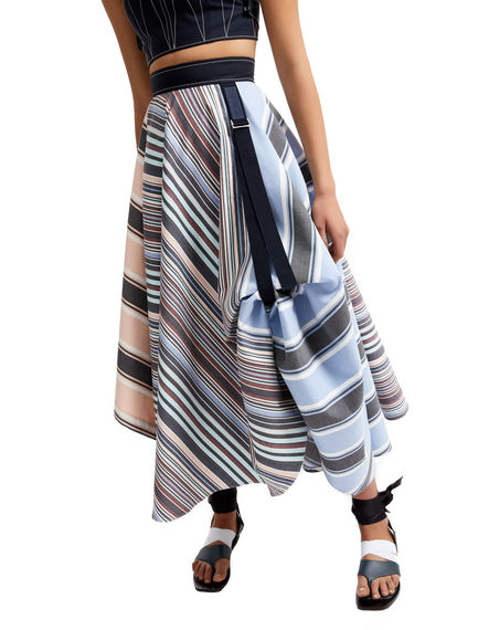 Transforming Striped Satin Maxi Skirt Sportmax