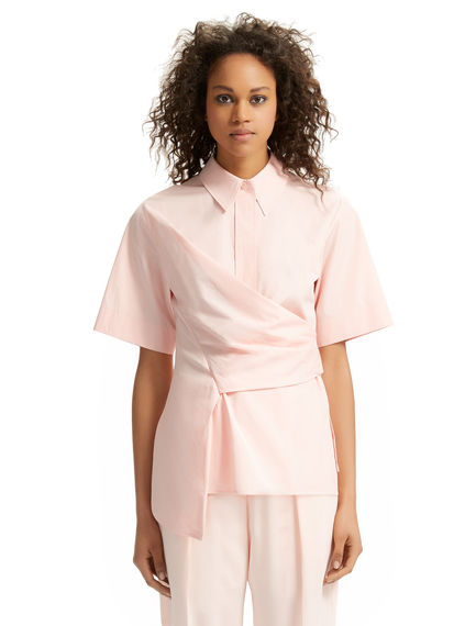 Wrapped Asymmetric Poplin Shirt
