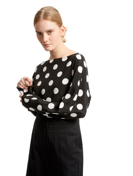 Polka Dot Silk Tunic Blouse Sportmax