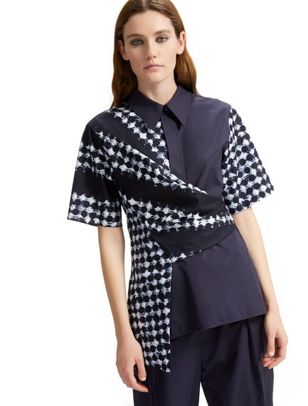 Wrapped Asymmetric Printed Shirt