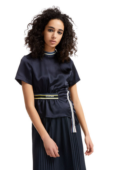 Asymmetric Gathered Satin Top Sportmax