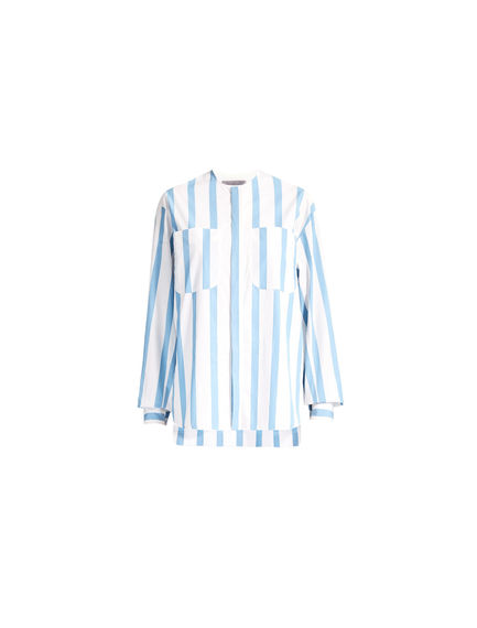 Striped Poplin Collarless Shirt