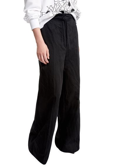 Metallic Cotton Palazzo Trousers Sportmax