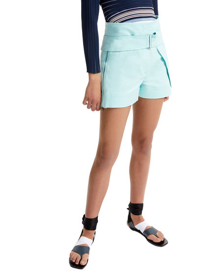 One-of-a-kind Green Satin Shorts Sportmax