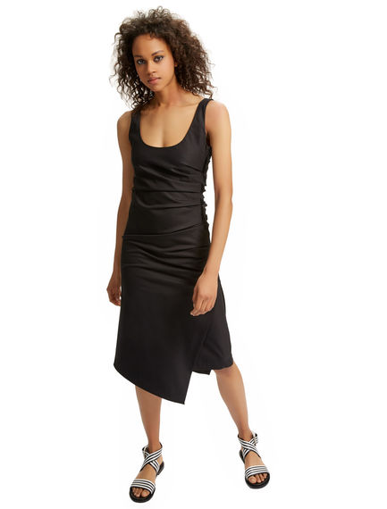 Asymmetric Ruched Gabardine Dress Sportmax