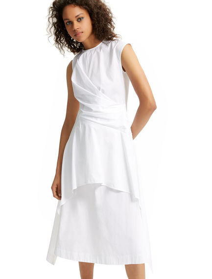 Asymmetric Poplin White Dress Sportmax