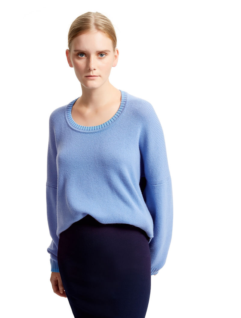 Contrast Stitch Cashmere Sweater, sky blue - Sportmax