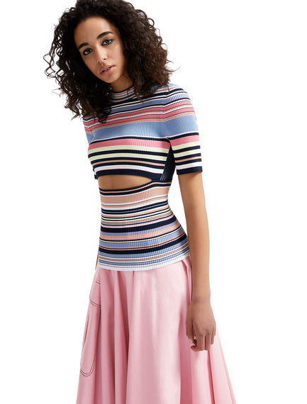 Deconstructed Striped Viscose Top Sportmax