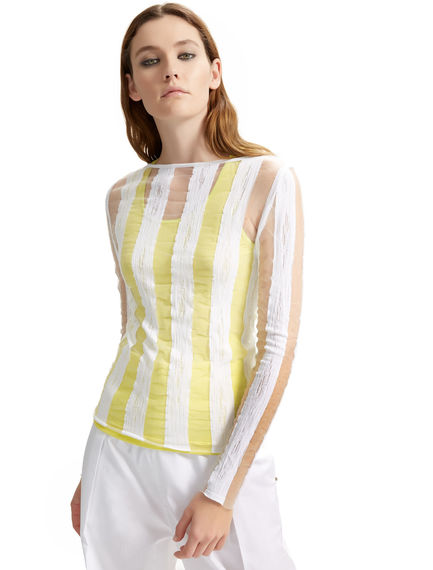 Semi-sheer Stripe Knit Top Sportmax