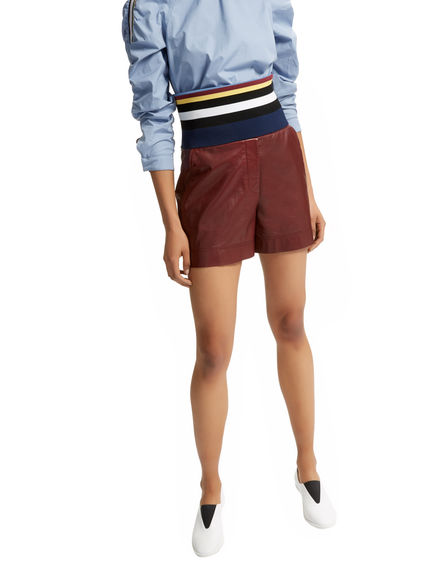 Rib-waist Leather Shorts Sportmax