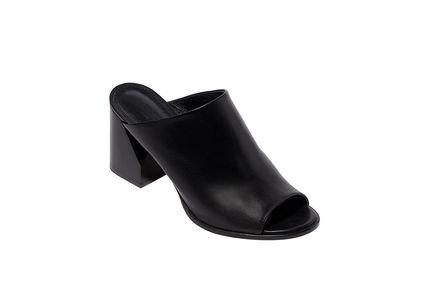 Heeled Leather Mules