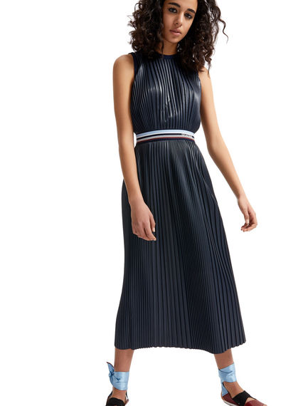 Pleated Faux Leather Dress Sportmax