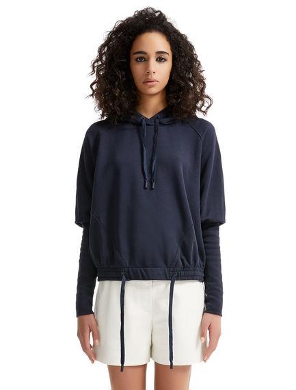 Elongated Cuff Hooded Sweatshirt