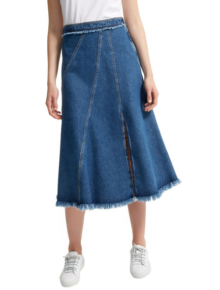 Frayed Denim Midi Skirt Sportmax