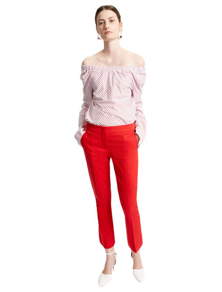 Cropped Stretch Cotton Trousers