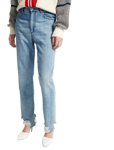 Bleached & Ripped High Waist Jeans Sportmax