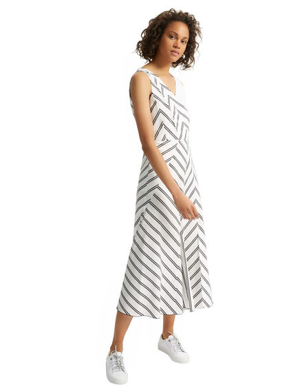 Chevron Poplin Dress