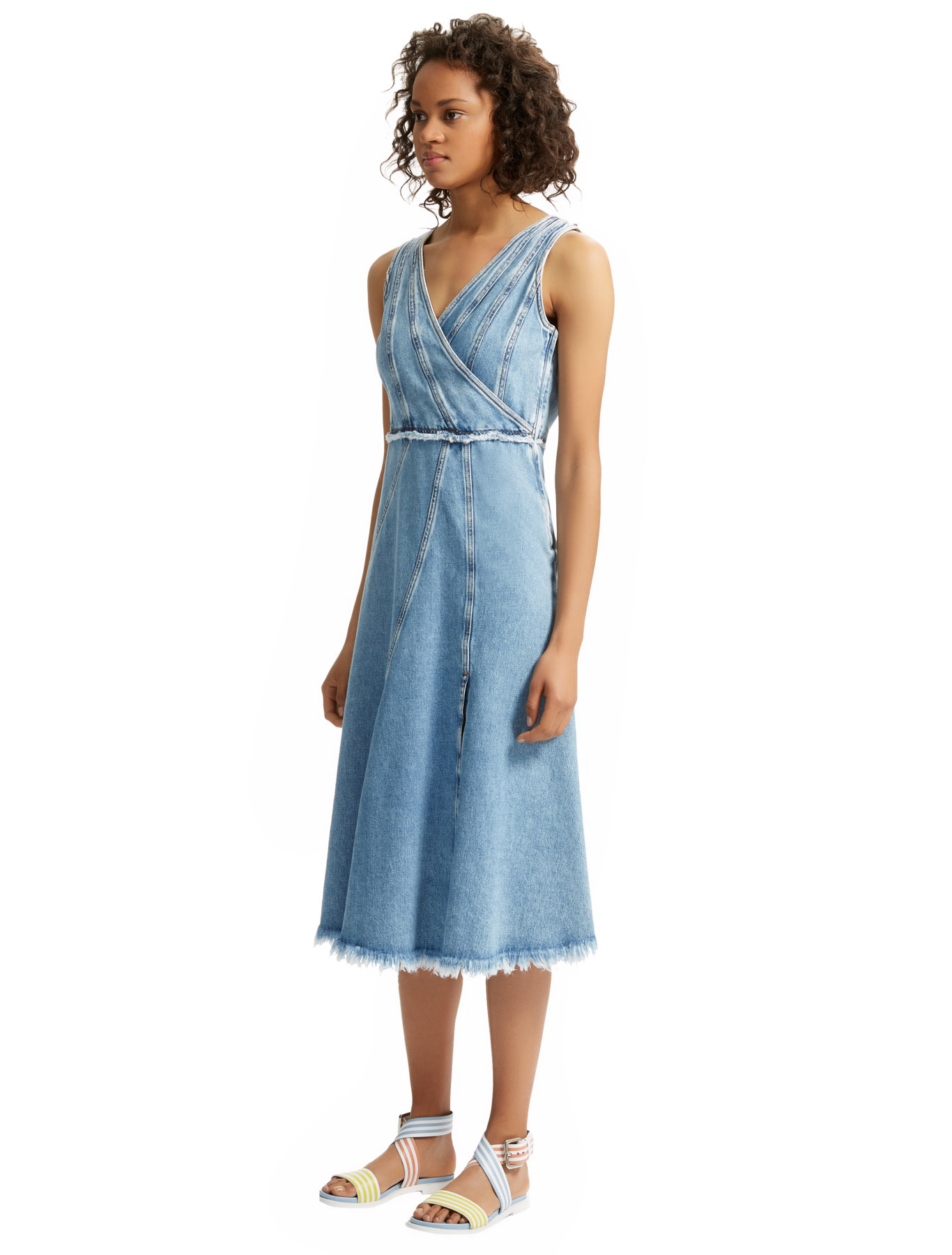 Asymmetric Washed Denim Dress, navy - Sportmax