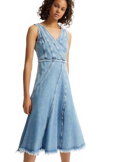 Asymmetric Washed Denim Dress Sportmax