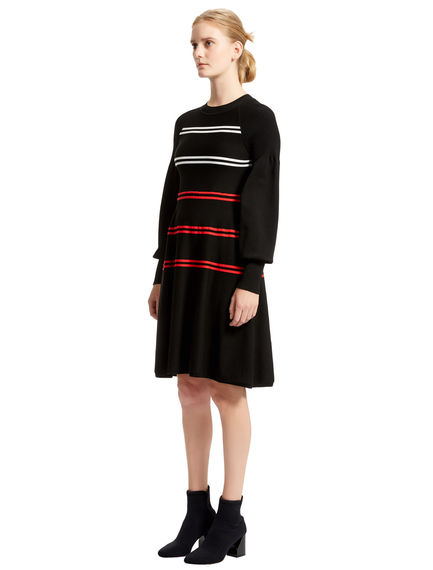 Striped A-line Knitted Dress