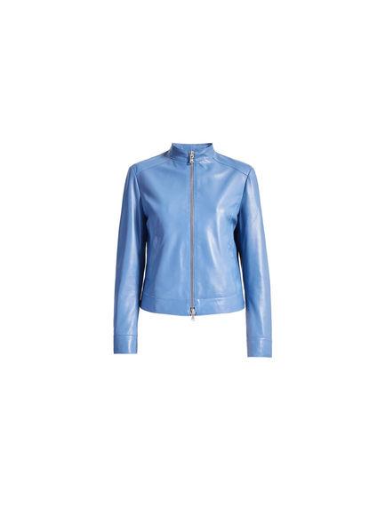 Blue Nappa Biker Jacket