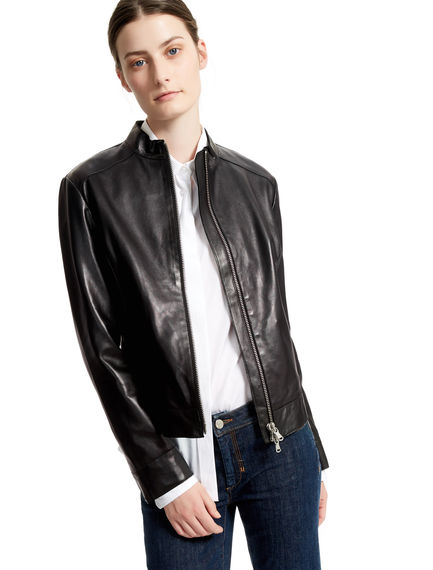 Black Leather Biker Jacket Sportmax