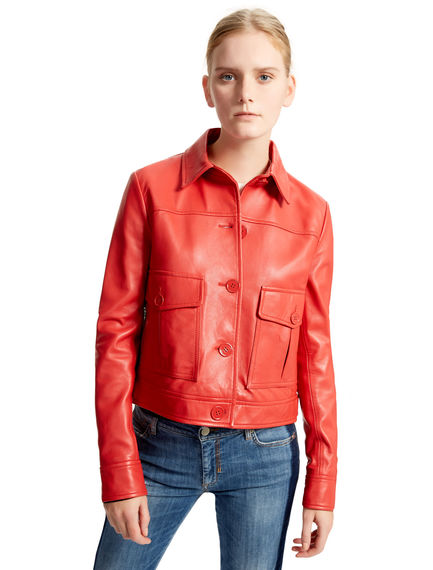 Red Nappa Leather Jacket Sportmax