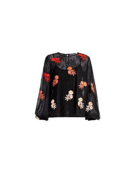 Floral-embroidered Lace Top