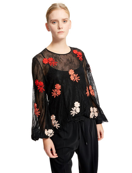 Floral-embroidered Lace Top Sportmax